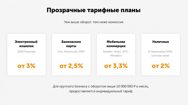 тарифы КИВИ на эквайрнг